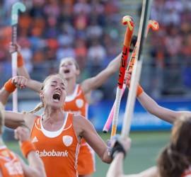Nederland dames hockey juichen